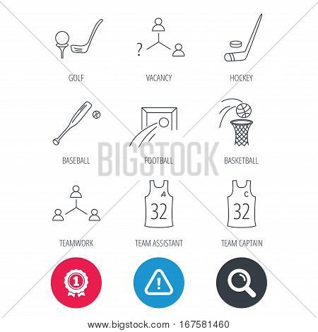 Achievement and search magnifier signs. Football, ice hockey and baseball icons. Basketball, team assistant and captain linear signs. Teamwork, vacancy and golf icons. Hazard attention icon. Vector