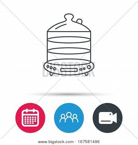 Steamer icon. Kitchen electric tool sign. Group of people, video cam and calendar icons. Vector