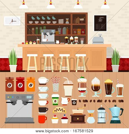 Coffee shop vector flat illustrations. Coffee bar interior with cakes, coffee machines and cooking utensils on the shelves. Rest and snack concept. Different kinds of coffee and equipment isolated on white background