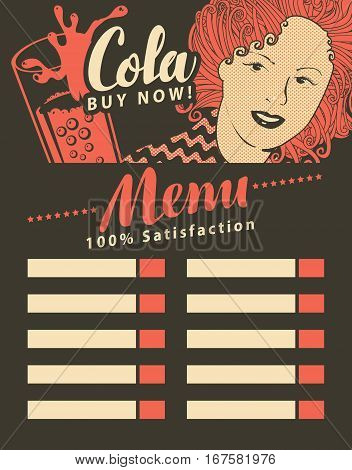 menu for fast food restaurant with girl with glass cola in retro style
