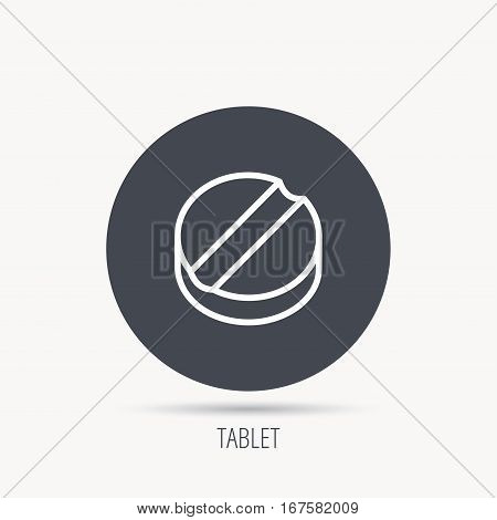 Tablet icon. Medicine drug sign. Pharmaceutical cure symbol. Round web button with flat icon. Vector