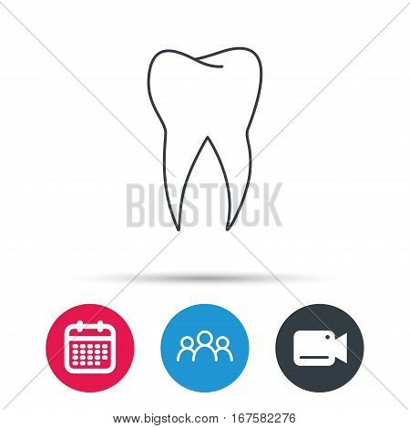 Tooth icon. Dental stomatology sign. Dentistry symbol. Group of people, video cam and calendar icons. Vector