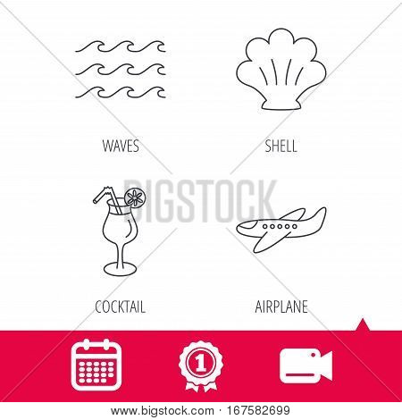 Achievement and video cam signs. Shell, waves and cocktail icons. Airplane linear sign. Calendar icon. Vector