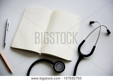 Stethoscope Notebook Notes Schedule Flatlay