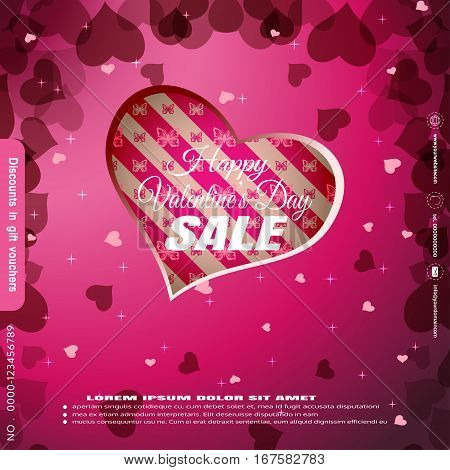 Vector promotional poster of Happy Valentine's Day sale with cutout heart shape on the gradient pink background.