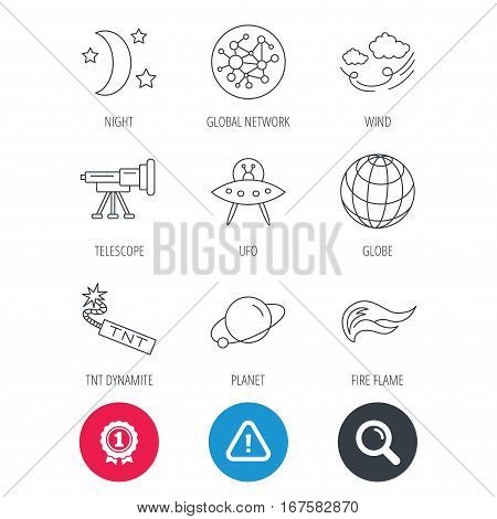 Achievement and search magnifier signs. Ufo, planet and telescope icons. World, global network and night linear signs. TNT dynamite, fire flame and wind flat line icons. Hazard attention icon. Vector