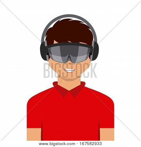 man cartoon with augmented reality visor icon over white background. colorful design. vector illustration