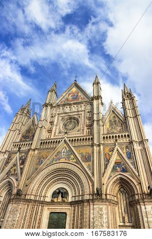 The Cathedral Duomo of Orvieto and blue sky. Umbria, Italy