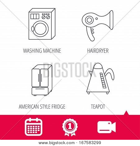 Achievement and video cam signs. Washing machine, teapot and hair-dryer icons. American style refrigerator linear sign. Calendar icon. Vector