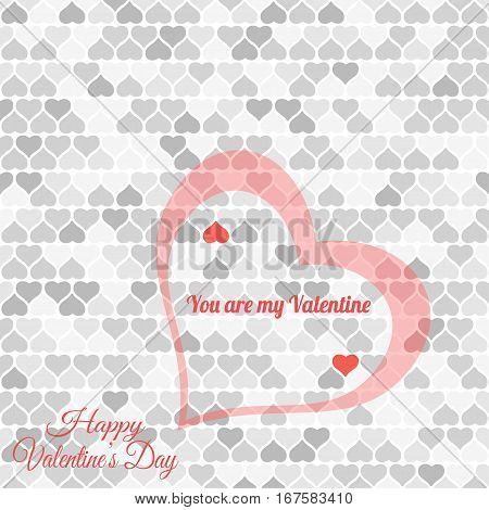 Vector Happy Valentine's Day light gray background with heart silhouettes different shades and text.