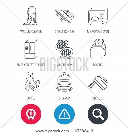 Achievement and search magnifier signs. Microwave oven, coffee and blender icons. Refrigerator fridge, steamer and toaster linear signs. Vacuum cleaner, ironing and waffle-iron icons. Vector