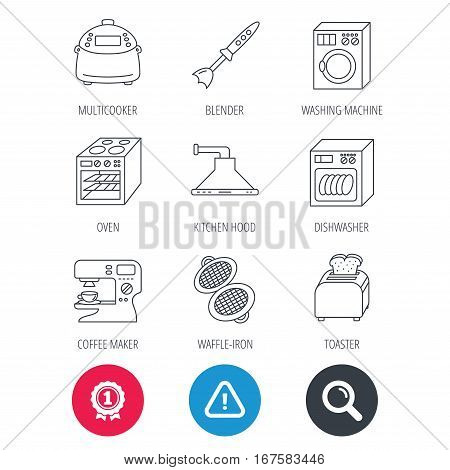 Achievement and search magnifier signs. Dishwasher, washing machine and blender icons. Kitchen hood, coffee maker and toaster linear signs. Oven, multicooker and waffle-iron icons. Vector