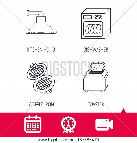 Achievement and video cam signs. Dishwasher, waffle-iron and toaster icons. Kitchen hood linear sign. Calendar icon. Vector