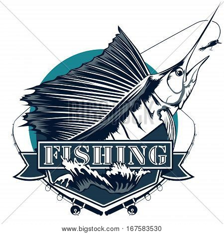 Marlin Fishing Emblem Isolated On White
