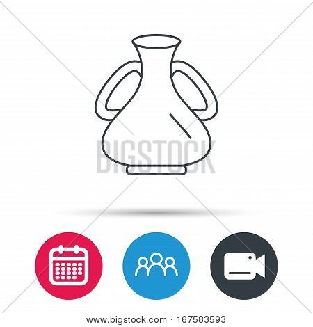 Vase icon. Decorative vintage amphora sign. Group of people, video cam and calendar icons. Vector