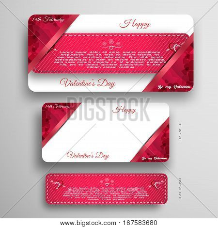 Vector set of red greeting card for Valentine's Day insert in white and red case with pockets at the corners on the gray background.