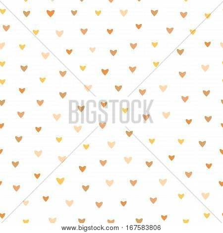 Pale Color Heart Vector Pattern On White Background - Cute pattern with small hearts in soft pale shades of brown, yellow, pink, seamless vector background.
