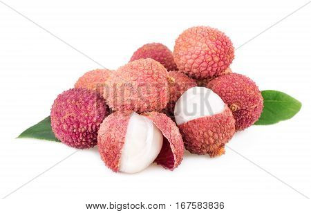 lychee stack of litchi fruits isolted on white