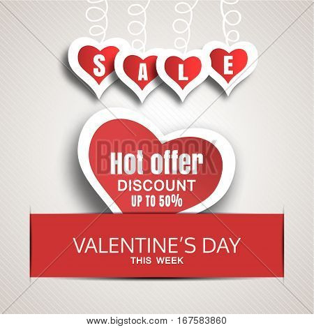 Vector promotional red poster of Happy Valentine's Day sale with red paper heart insert in the red slot with shadow.
