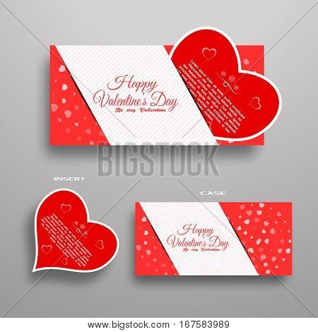 Vector set of greeting card for Valentine's Day insert in red case with light stripe on the gradient gray background.