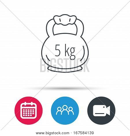Weight icon. Weightlifting barbell sign. Power fitness symbol. Group of people, video cam and calendar icons. Vector