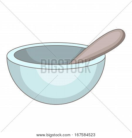 Mortar and pestle icon. Cartoon illustration of mortar and pestle vector icon for web
