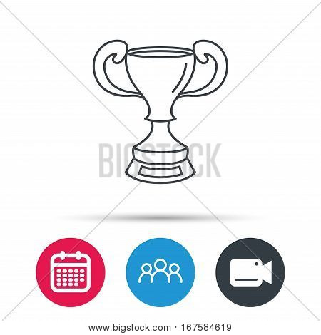 Winner cup icon. Award sign. Victory achievement symbol. Group of people, video cam and calendar icons. Vector