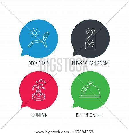 Colored speech bubbles. Reception bell, fountain and beach deck chair icons. Clean room linear sign. Flat web buttons with linear icons. Vector