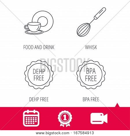 Achievement and video cam signs. Food and drink, whisk and BPA free icons. DEHP free linear sign. Calendar icon. Vector