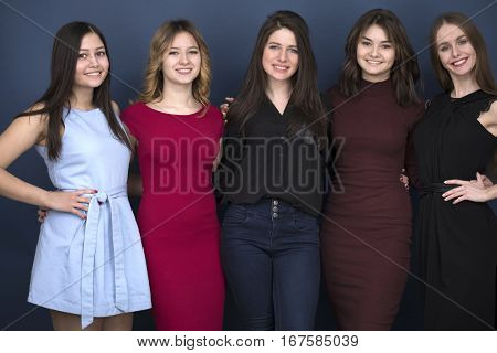 five closeup portrait beautiful women