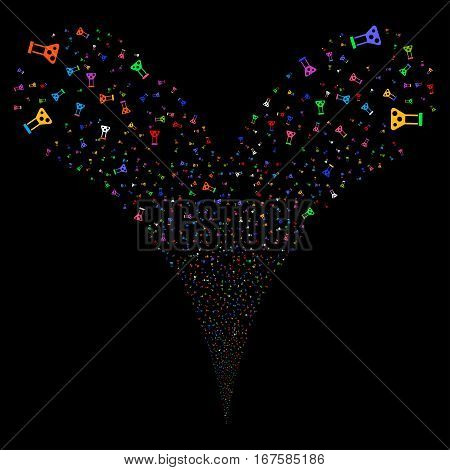 Chemistry fireworks stream. Vector illustration style is flat bright multicolored iconic symbols on a black background. Object double fountain made from random design elements.