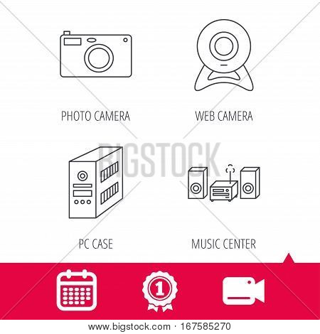 Achievement and video cam signs. Photo camera, pc case and music center icons. Web camera linear sign. Calendar icon. Vector