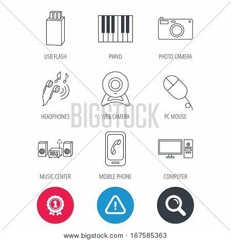 Achievement and search magnifier signs. Smartphone, web camera and USB flash icons. Headphones, piano and photo camera linear signs. Computer, music center icons. Hazard attention icon. Vector