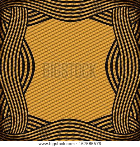 border with striped lines in ochre color vector illustration