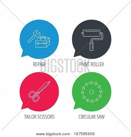 Colored speech bubbles. Scissors, paint roller and repair tools icons. Circular saw linear sign. Flat web buttons with linear icons. Vector