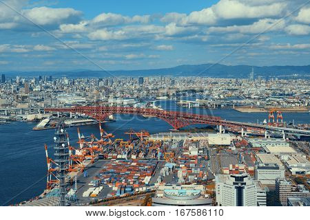 OSAKA, JAPAN - MAY 11: Sea port rooftop view on May 11, 2013 in Osaka. With nearly 19 million inhabitants, Osaka is the second largest metropolitan area in Japan after Tokyo.