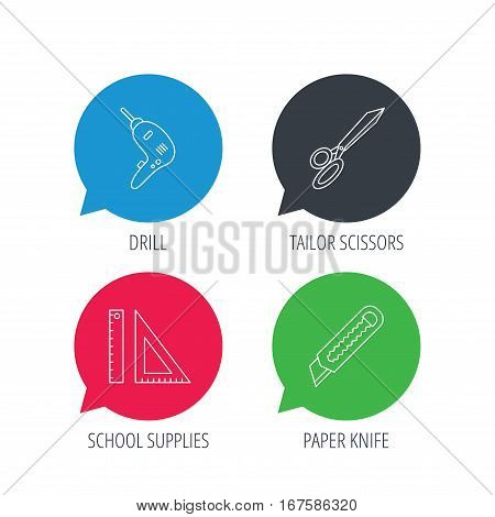 Colored speech bubbles. Paper knife, school supplies and scissors icons. Drill tool linear sign. Flat web buttons with linear icons. Vector