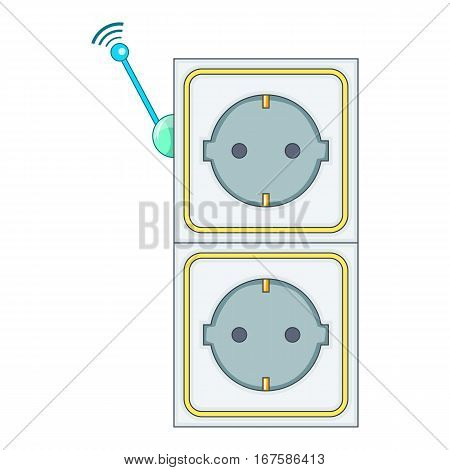 Smart power socket icon. Cartoon illustration of smart power socket vector icon for web