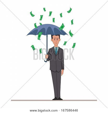 Businessman or manager with an umbrella in the rain of money. Cartoon character isolated on white background. Vector, illustration EPS10