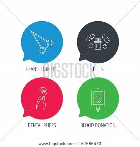 Colored speech bubbles. Medical pills, blood and dental pliers icons. Peans forceps linear sign. Flat web buttons with linear icons. Vector