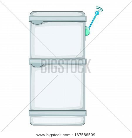 Refrigerator with wi fi connection icon. Cartoon illustration of refrigerator with wi fi connection vector icon for web