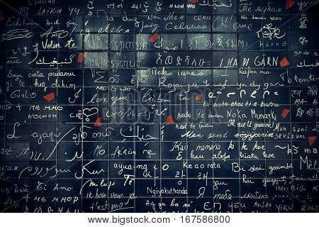PARIS, FRANCE - MAY 13: Le Mur des Je t'aime (the Wall of Love) closeup on May 13, 2015 in Paris. It is the most-visited paid monument in the world with annual 250M visitors.