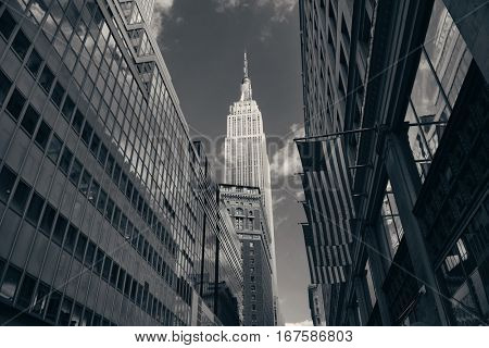 New York City - SEP 11: Empire State Building viewed from street on September 11, 2015 in New York City. With 8.5M, New York City is the is the most populous city in the United States.