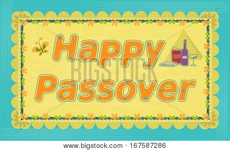 Decorative sign that says Happy Passover. Eps10