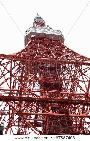 In the picture we can see a red colored telecommunication tower from a different angle which is from down.