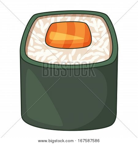 Roll, traditional Japanese food icon. Cartoon illustration of roll, traditional Japanese food vector icon for web