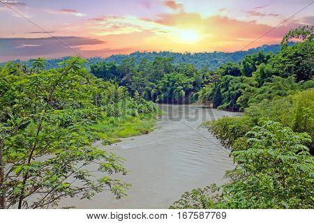 Kali Progo river on Java Indonesia at sunset