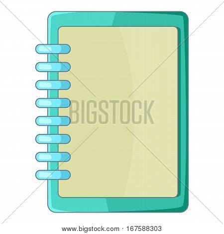 Blank spiral notebook icon. Cartoon illustration of blank spiral notebook vector icon for web