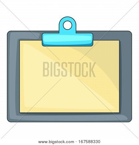 Clipboard with blank sheet of paper icon. Cartoon illustration of vector icon for web