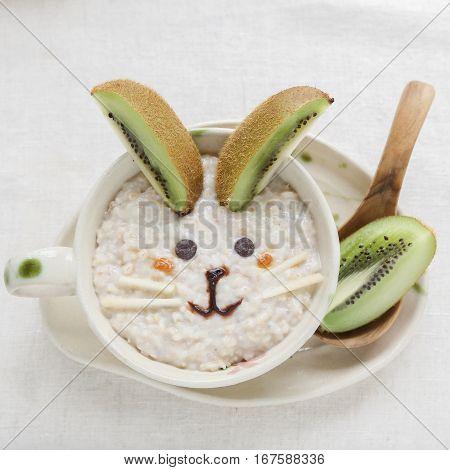 Easter Bunny rabbit porridge breakfast food art for kids